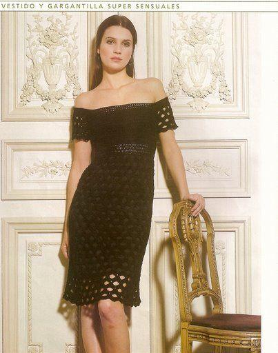 vestido punto rellenoDresses Pattern, Crochet Black, Crochet Dresses, Black Dresses, Olive Dresses, Crochet Free Pattern, Crochetknit Dresses, Knits, Crochet Clothing
