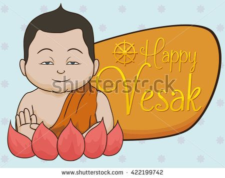 Smiling Buddha doing a mudra gesture with her hand, over a lotus flower and a sign for Vesak holiday.