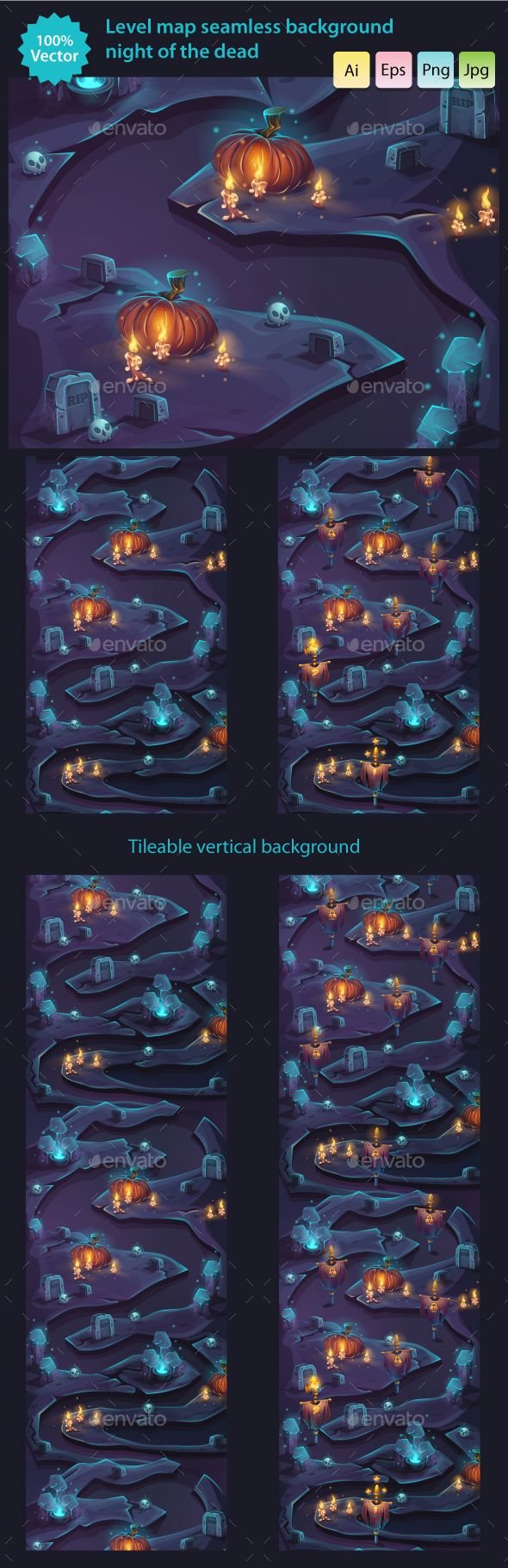 Night of the Dead - Seamless Background Level Map - Backgrounds Game Assets | Download: https://graphicriver.net/item/night-of-the-dead-seamless-background-level-map/19051369?ref=sinzo