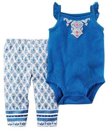 5e868206ebd46 Carter's Infant Girls Blue Floral Geometric Baby Outfit Bodysuit & Leggings  NB