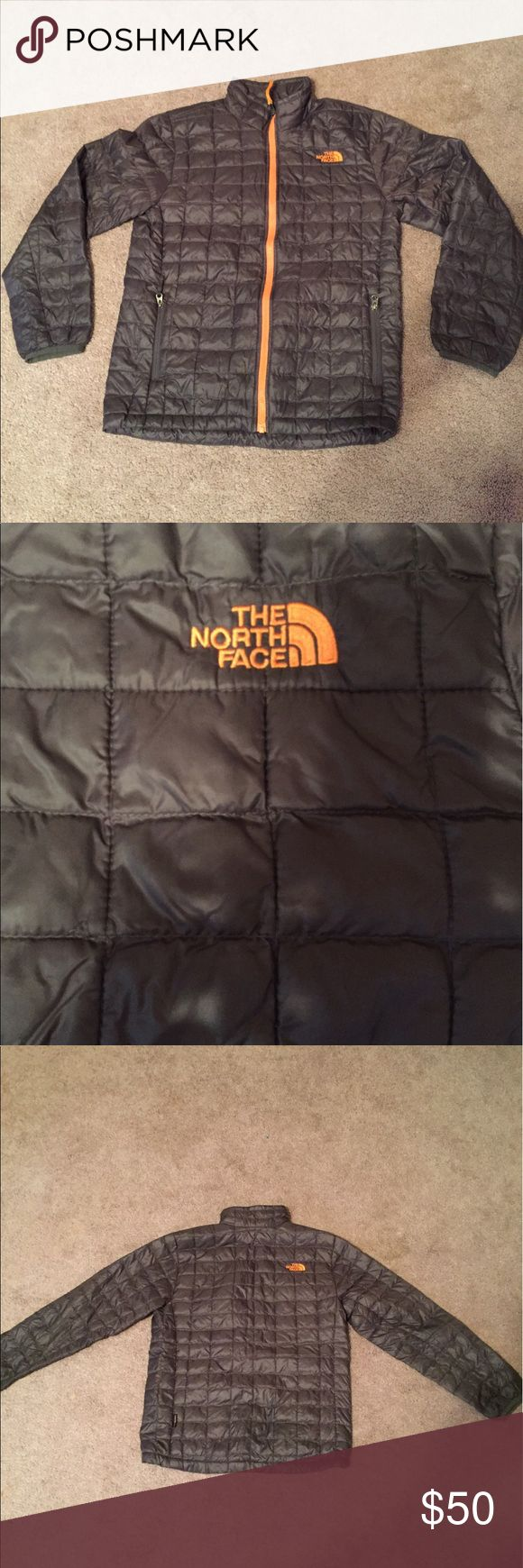 """Youth North Face Thermoball Jacket Gently Used with minor wear and tear.  This jacket is so warm and not bulky like most """"puffer"""" jackets.  This jacket also rolls up into pocket making it a great packable jacket. The North Face Jackets & Coats Puffers"""