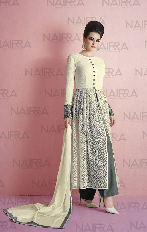 Buy Online Exclusive Designer Anarkali Suit or shuits Cream Color, Net and Santoon material, Chiffon Dupattas, Party Wear, Ceremonial Wear, Festival Wear, kitty party wear for women, Anarkali Suits, Anarkali suit, shuits for women. We have large range of Designer Anarkali suits in our website with the best pricing and unique designs shipping to (UK, USA, India, Germany, UAE, Canada, Singapore, Australia, Mauritius, New Zealand) world wide.