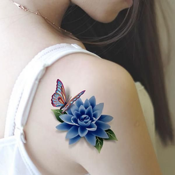 Colorful 3D Butterfly Flower Rose Tattoo Sticker Waterproof Temporary Decal DIY Body Art