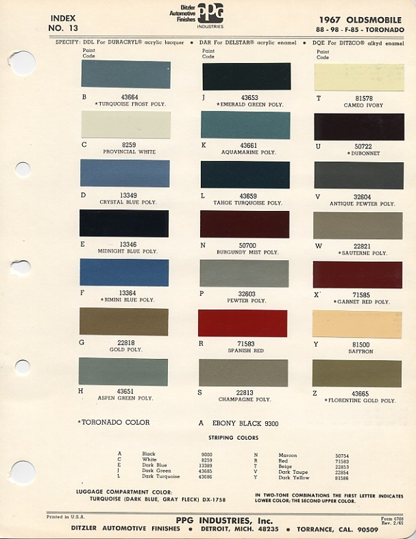 Auto Paint Colour Chart >> paint code on 1967 Cutlass! - | Auto paint colors | Codes | Pinterest | Cars, Paint colors and ...
