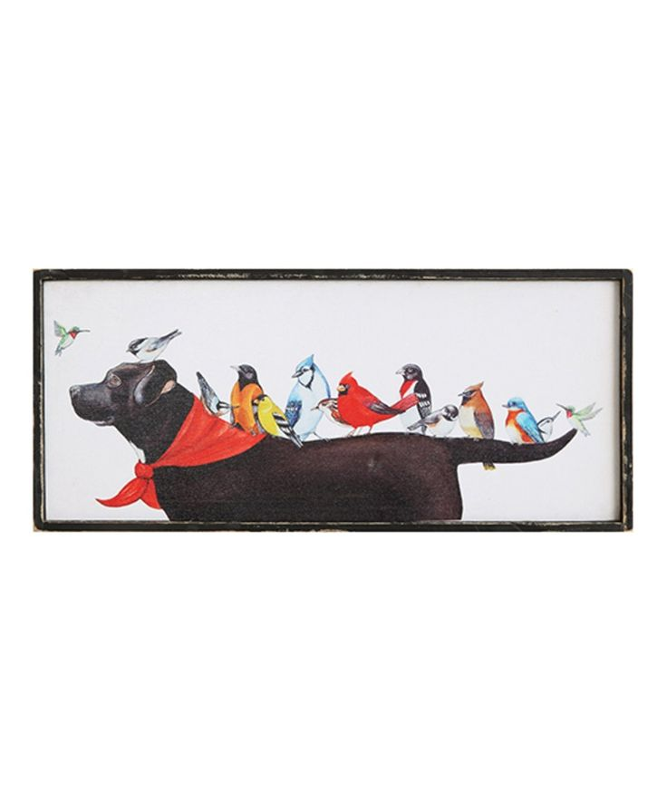 Take a look at this Birds on Dog Framed Wrapped Canvas today!