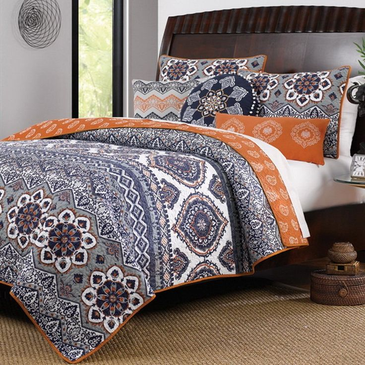 Boho Chic Moroccan Paisley Pattern Grey Orange Cotton 3 Piece King Size Quilt Bedding Set