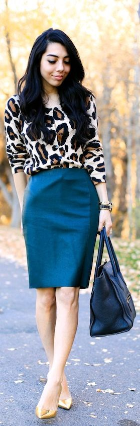 Print Sweater + Jewel Tone Pencil Skirt --- For a professional and fashionable work look, pair a sweater or blouse in a bold print with a classic pencil skirt in a rich color.  A nude shoe and simple accessories will help you rock this outfit.  ------- For more business, communication, strategic branding, and public speaking tips, visit www.HugSpeak.com