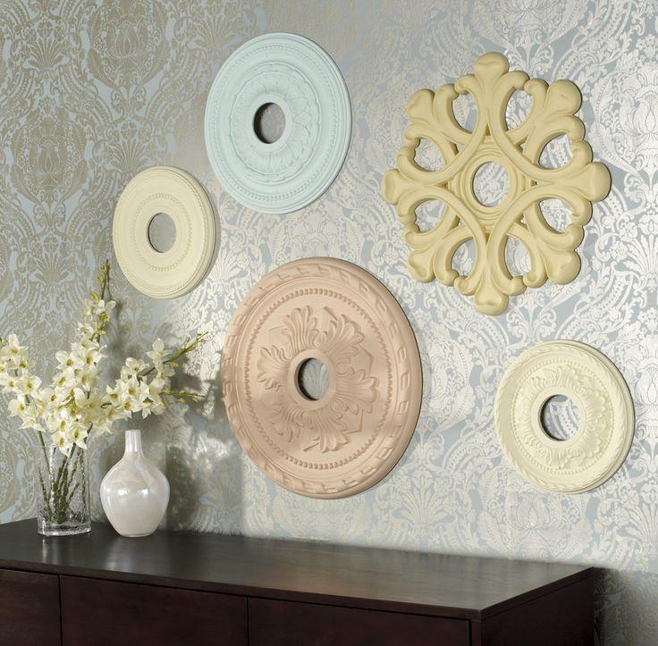 Decorate and add texture to a #wall by creating a superb display of rosette #medallions.   Décorez un #mur et donnez-lui du relief en créant un agencement de médaillons.