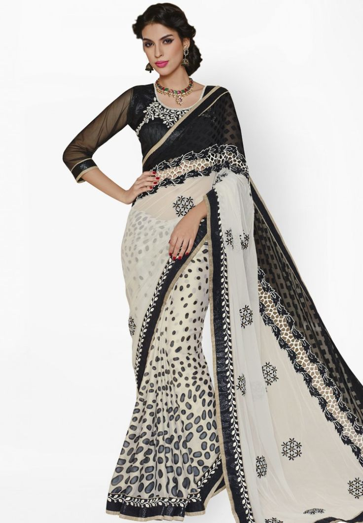 Black Embroidered Saree at $200.36 (35% OFF)