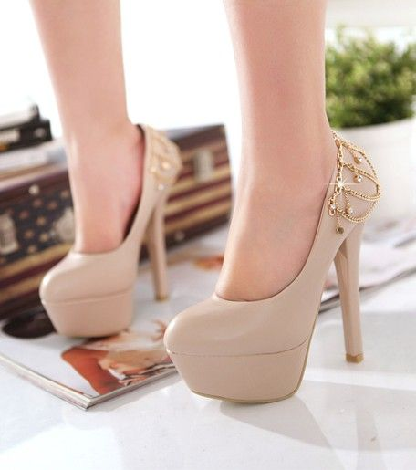 Elegant High Heel Chain Pumps Apricot