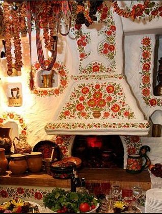 That's inside beautifully painted Ukrainian home! It looks a little like Rapunzle's  home from the Tangled cartoon.