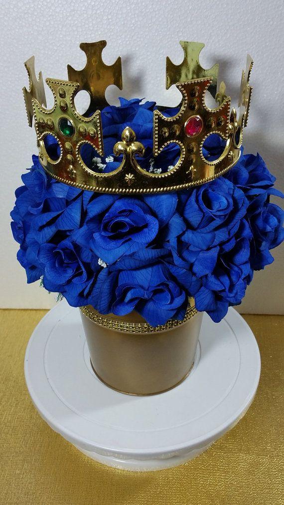 Diaper pail centerpiece boys royal blue by