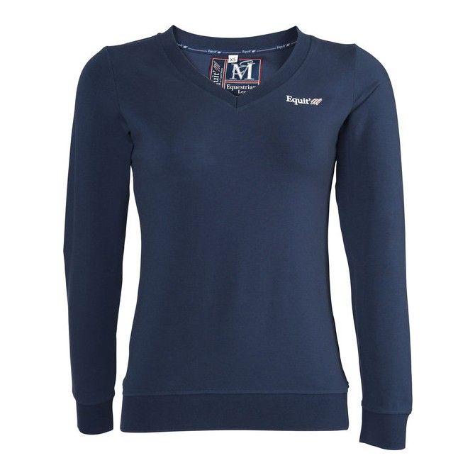 T-shirt da donna a maniche lunghe in jersey di cotone per equitazione, Equi-thème.