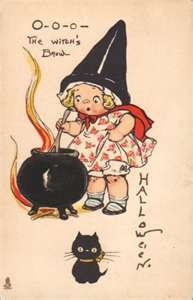 vintage witch and cat