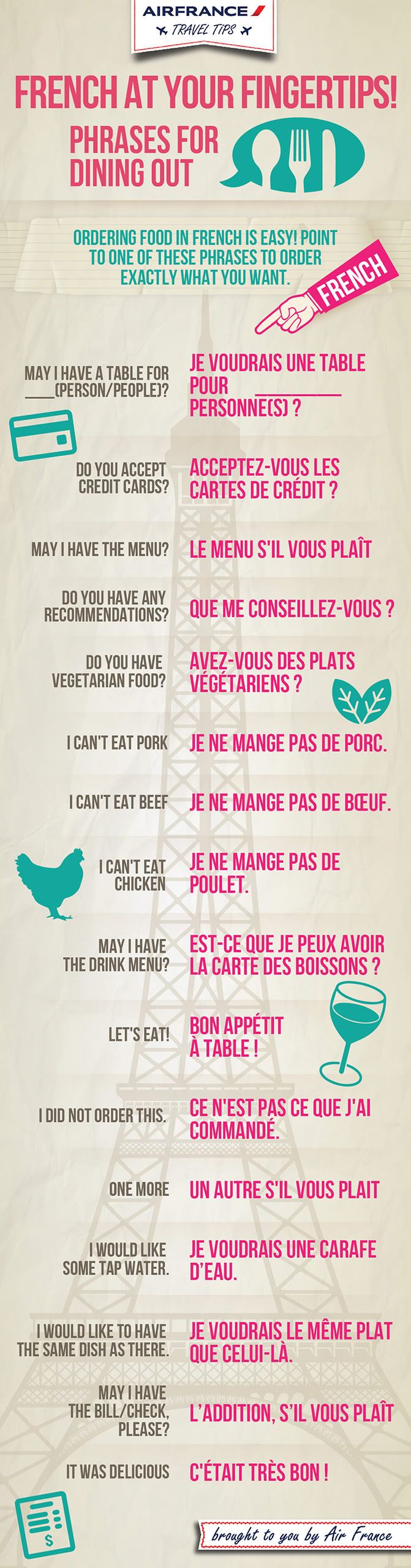 French in a restaurant.  Thanks to Air France for this.  #learnfrench #frenchlanguage  http://www.uniquelanguages.com/french-courses/4577724648