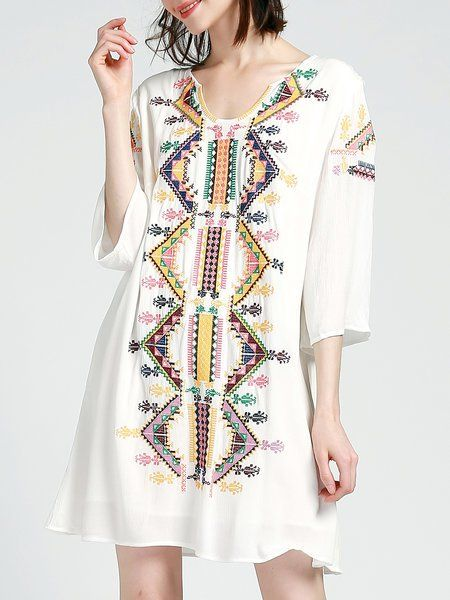 3/4 Sleeve Casual Embroidered Mini Dress