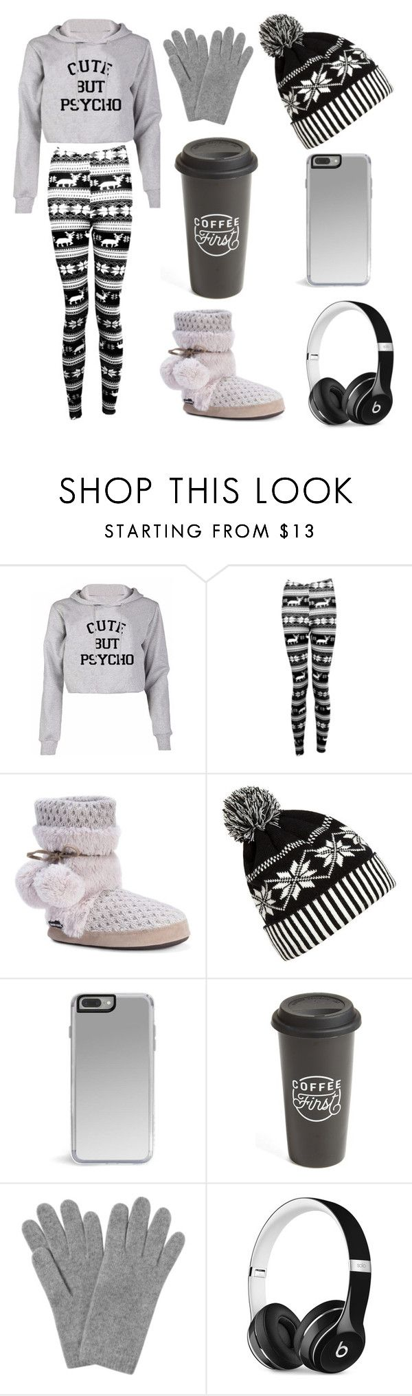 """movie time at home"" by maryfahmy ❤ liked on Polyvore featuring Boohoo, Muk Luks, WithChic, The Created Co., L.K.Bennett and Beats by Dr. Dre"