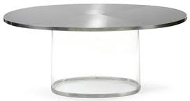 maria pergay - stainless steel and plexiglass table