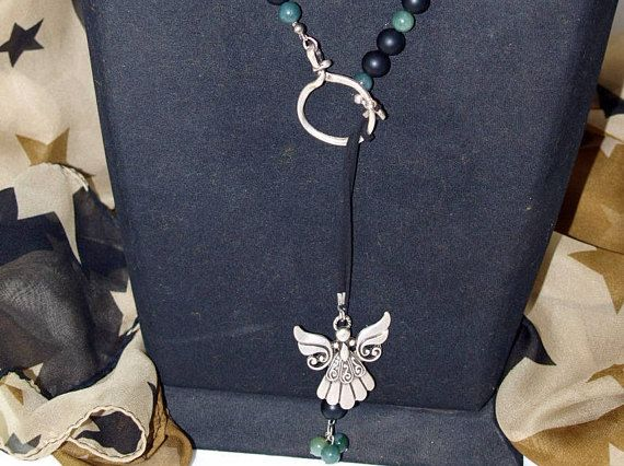Agate and Onyx Stone Necklace Angel Necklace Design