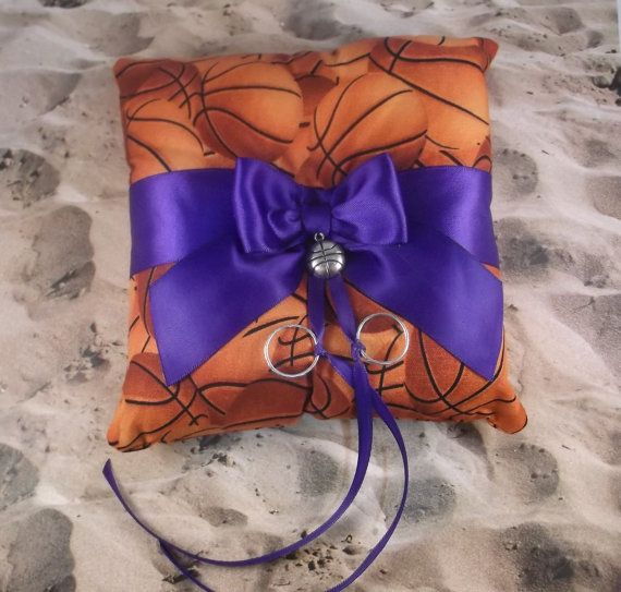 Basketball Orange Fabric royal Purple Bow Basketball Charm Wedding Ring Bearer Pillow on Etsy, Sold