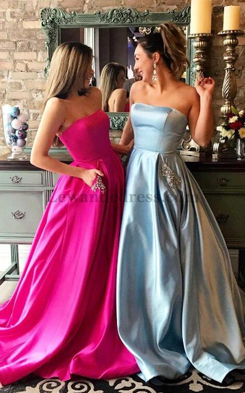 Gorgeous Strapless Beaded Satin Evening Dress Pockets Long 50812 [Lewande  50812] - $168.00 : LewandeDress.com