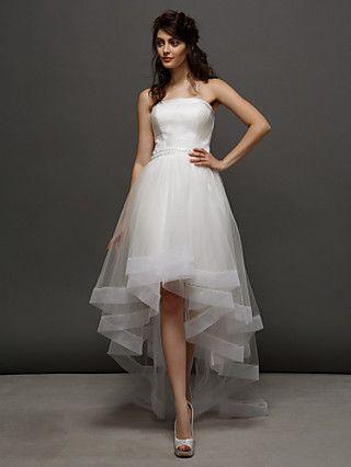 Balo Elbisesi Straplez/Askısız Asimetrik Gelinlik (Tül) | LightInTheBox