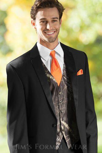 NEW-Mens-Mossy-Oak-Camo-Tuxedo-Vest-Hunters-OrangeTie-Hankie-Alpine-Camouflage