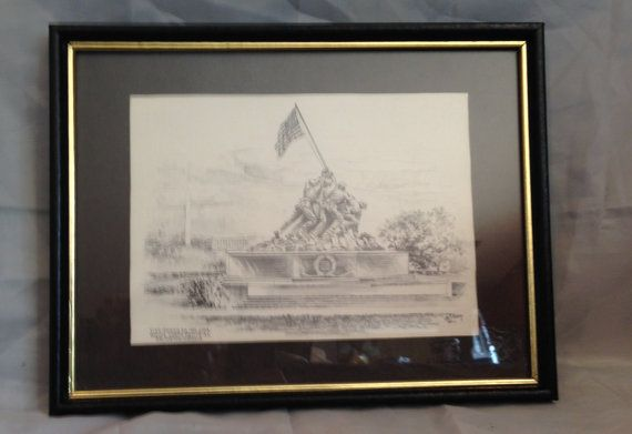 Vintage Jas F. Murray,  The Flag Raising on Iwo Jima Merorial, Framed Print #collectible #shopping