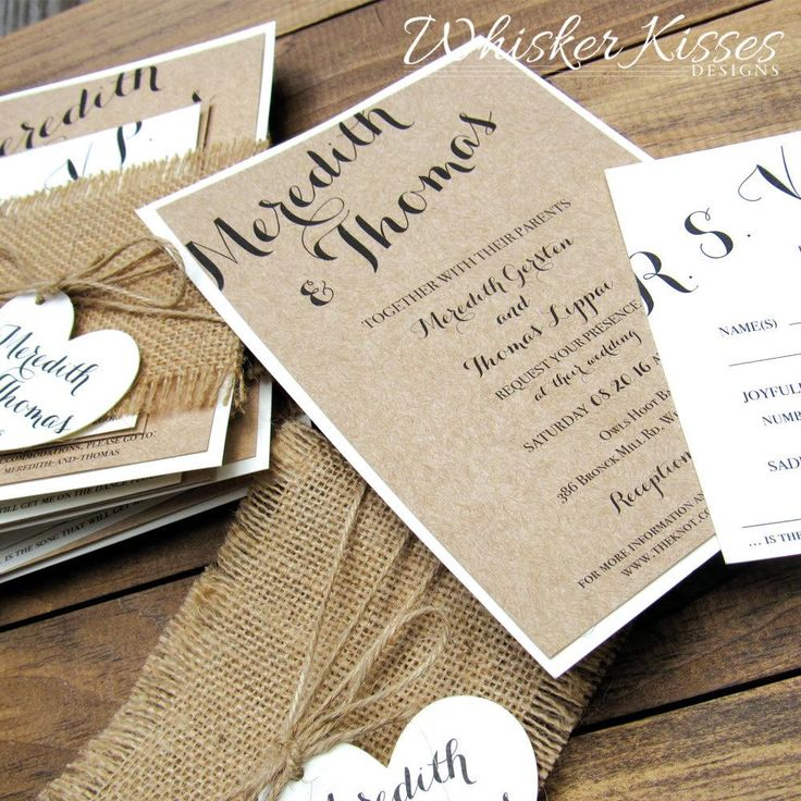 diy wedding invites rustic%0A Rustic Wedding Invitation Suite with Burlap Wrap and Heart Tag   from  Whisker Kisses Designs