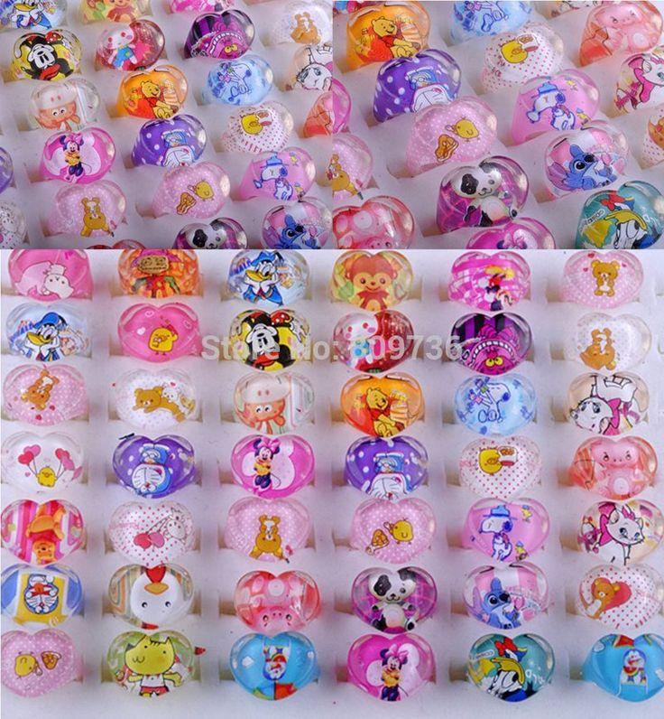 Parcele 10 Sztuk Cute Cartoon Dzieci Dzieci Żywiczne Lucite Pierścień Nowy Hurtownie Mieszane Kształt Serca biżuteria Dziecko Prezent
