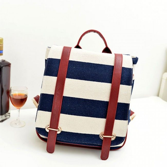 Retro Navy Stripe Canvas Backpack&School Bag for only $29.99 ,cheap Fashion Backpacks - Fashion Bags online shopping,Retro Navy Stripe Canvas Backpack&School Bag Exterior Construction: Top handle. Adjustable strap. Fold over flap. Interior Construction: A zipper patch pocket. Two opening patch pockets in which you can store your phone and cards.