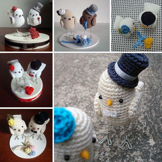 cabô agosto by Maria Handmade, via Flickr - Crochet birds wedding cake topper