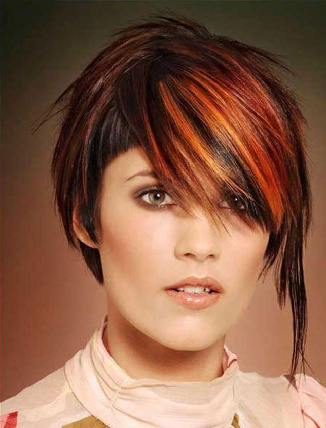 Farklı Kızıl Kısa Asimetrik Saç Modelleri