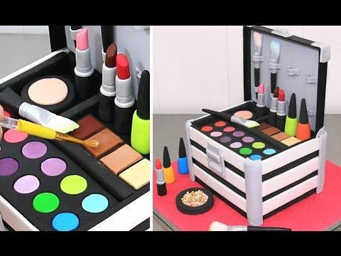 Hi! Today I bring you a cosmetics makeup beauty box cake idea with edible toppers like lipsticks and nail polishes. Enjoy watching! ***********More makeup an...