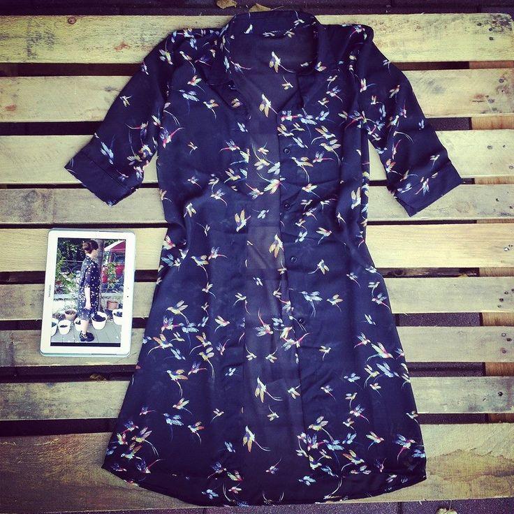 #Maxi #camicia con #colibrì lunga #oversize taglia unica 35 euro!