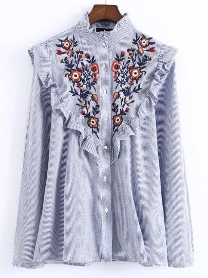 Shop Blue Vertical Striped Flower Embroidered Ruffle Shirt online. SheIn offers Blue Vertical Striped Flower Embroidered Ruffle Shirt & more to fit your fashionable needs.