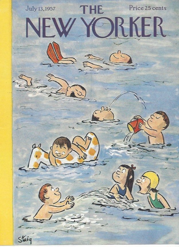 COVER ONLY~  The New Yorker magazine ~ July 13 1957 ~ STEIG ~ Kids swimming