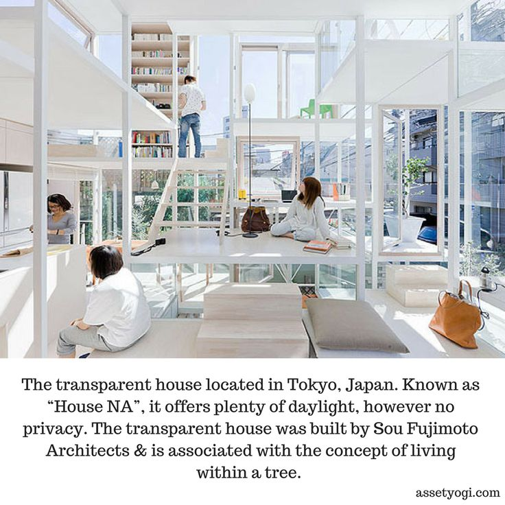 """The transparent house located in Tokyo, Japan. Known as """"House NA"""", it offers plenty of daylight, however no privacy. The transparent house was built by Sou Fujimoto Architects & is associated with the concept of living within a tree.   #RealEstate #Architecture #HouseNA #AmazingArchitecture #AssetYogi"""