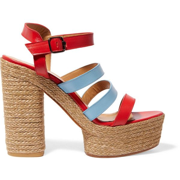 Castañer Adalia leather platform sandals (535 SAR) ❤ liked on Polyvore featuring shoes, sandals, red, red strappy sandals, leather strap sandals, strappy high heel sandals, red platform sandals and strappy sandals