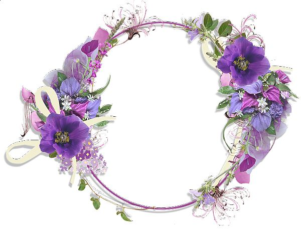 Purple Flower Borders and Frames | Gallery Frames Purple Flower Round…