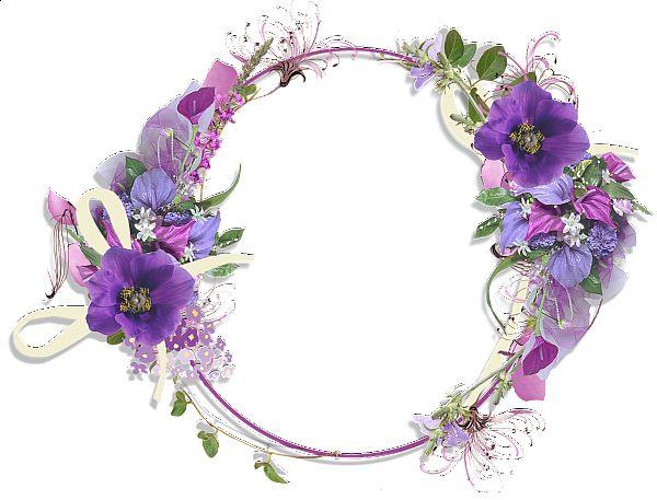 Purple Flower Borders and Frames | Gallery Frames Purple Flower Round…
