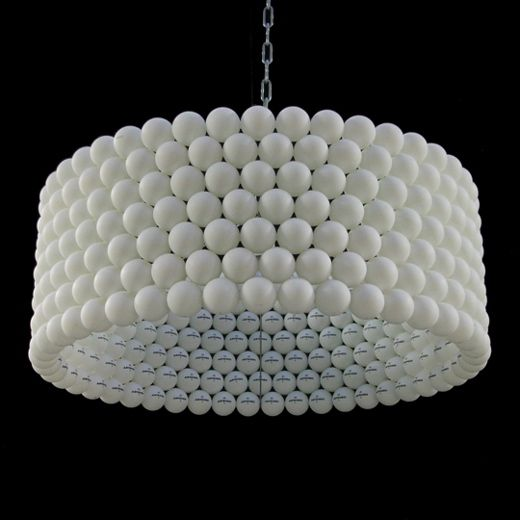 Made from ping pong balls.  designed and handmade in holland of 315 standard 40 mm celluloid table tennis balls. due to it's shape this lamp projects a playful dot patterned shadow on it's surroundings.