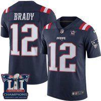 Men's New England Patriots #12 Tom Brady Navy Blue Super Bowl LI Champions Nen Elite Jersey