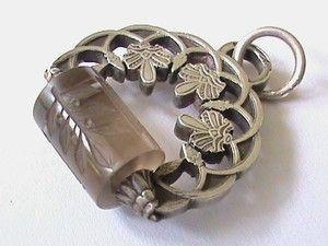 Unusual French Antique Silver Quartz Intaglio ROLLER Seal Art Nouveau Victorian