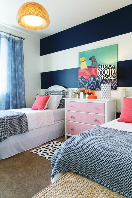 Kid's Contemporary Room With Twin Beds and Striking Art