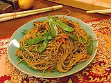 Beef lo mein. I used phillipino noodles instead of soba noodles and added bean sprouts, mushrooms and water chestnuts. So yummy!