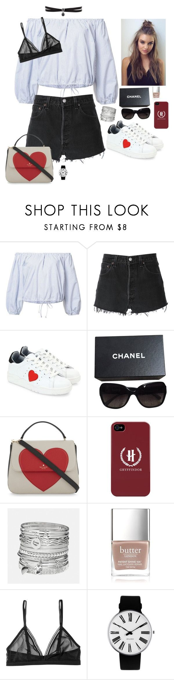 """""""Valentines Day outfit"""" by youngsmile ❤ liked on Polyvore featuring Sea, New York, RE/DONE, Chiara Ferragni, Chanel, Kate Spade, Avenue, Butter London, Monki, Rosendahl and Fallon"""