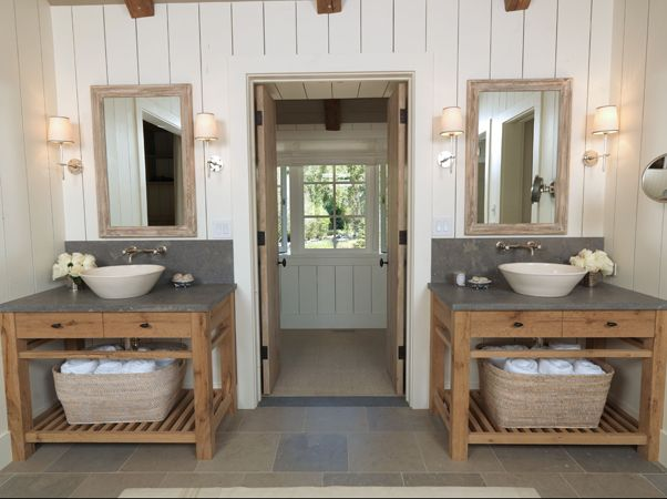 A Coastal Cottage Style Bath With Open Vanity For Baskets Of Towels And  Bowl Style Sink