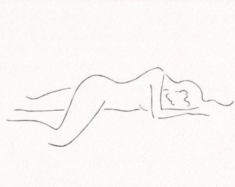 Line art sketch of a nude woman figure. Simple drawing by siret