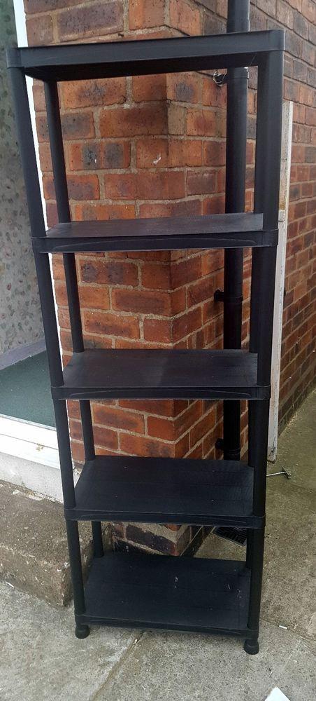 USED* 5 TIER PLASTIC SHELVING Unit Racking Shelves Storage Rack Shelf